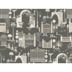 Belgravia Moda Madeline Garden Pattern Art Deco Cat Bird Metallic Wallpaper 504