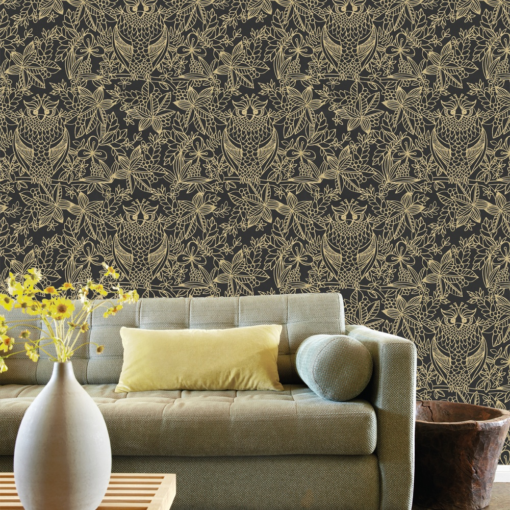 Belgravia Owl Pattern Bird Floral Leaf Motif Metallic Designer Wallpaper  9711