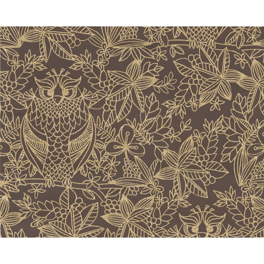 Belgravia Owl Pattern Bird Floral Leaf Motif Metallic