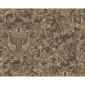 Belgravia Owl Pattern Bird Floral Leaf Motif Metallic Designer Wallpaper 9712
