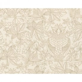 Belgravia Owl Pattern Bird Floral Leaf Motif Metallic Designer Wallpaper 9714