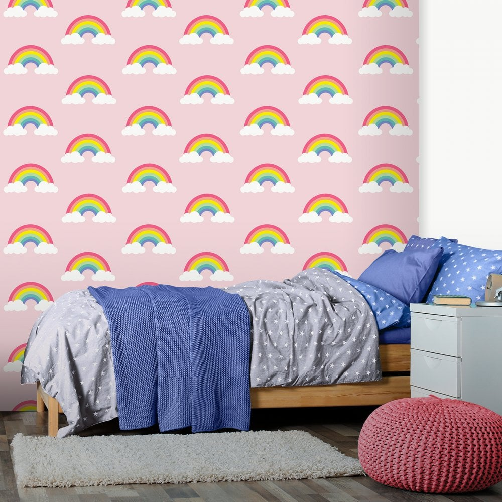 Belgravia Pretty Rainbow Wallpaper Clouds Sky Childrens Kids Bedroom Pink 9991