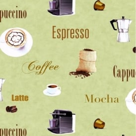 BN Wallcoverings Coffee Cups Beans Cappuccino Latte Mocha Motif Wallpaper 300502