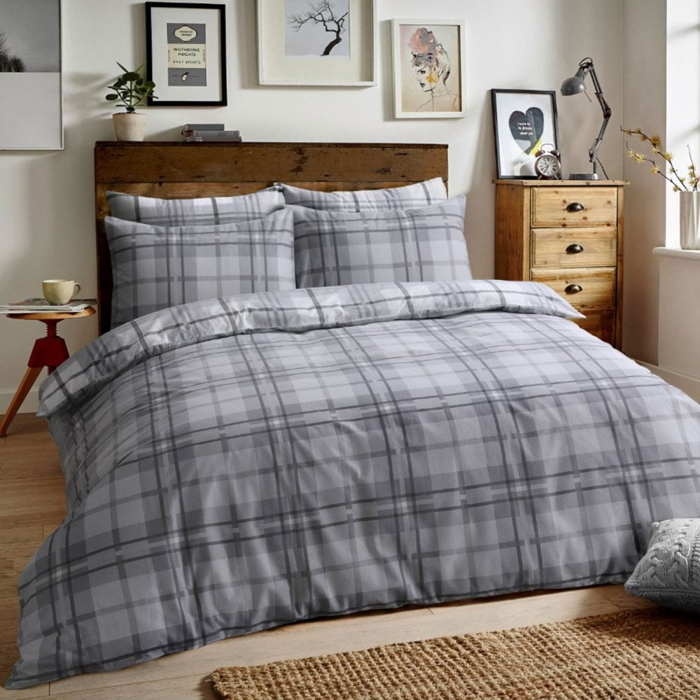 Brushed Cotton Reversible Flannel Duvet Quilt Cover Tartan Check