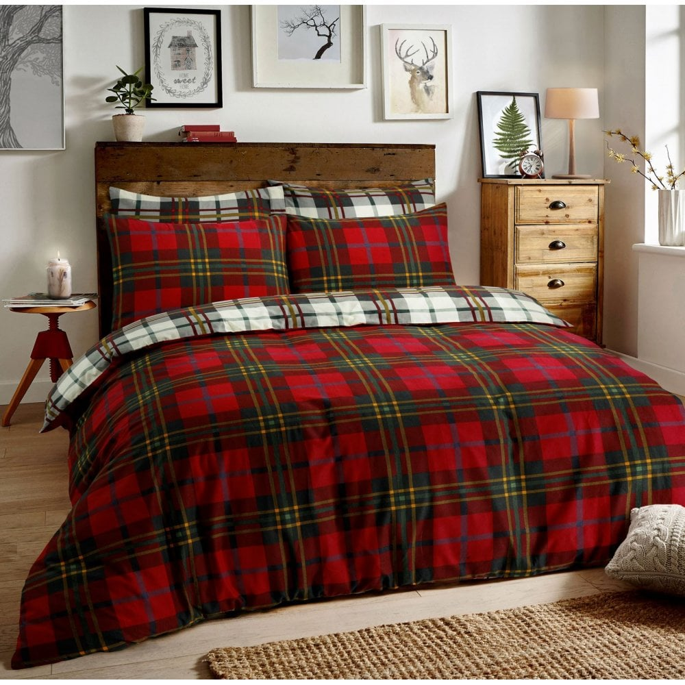 Brushed Cotton Reversible Flannel Duvet Quilt Cover Tartan