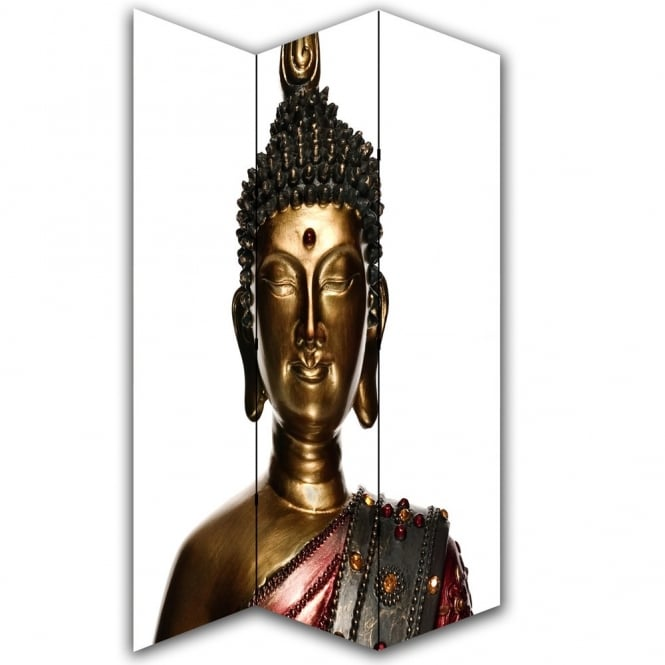 I Want Wallpaper Buddha Statue Canvas Dressing Privacy Screen Folding 3 Panel Room Divider HW6215