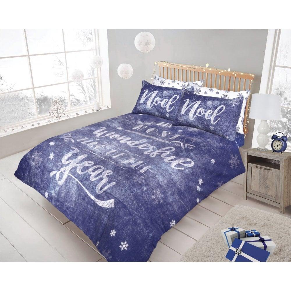 Christmas Bedding.Christmas Chalk Board Indigo Duvet Cover Festive Season Xmas Bedding Double 454051