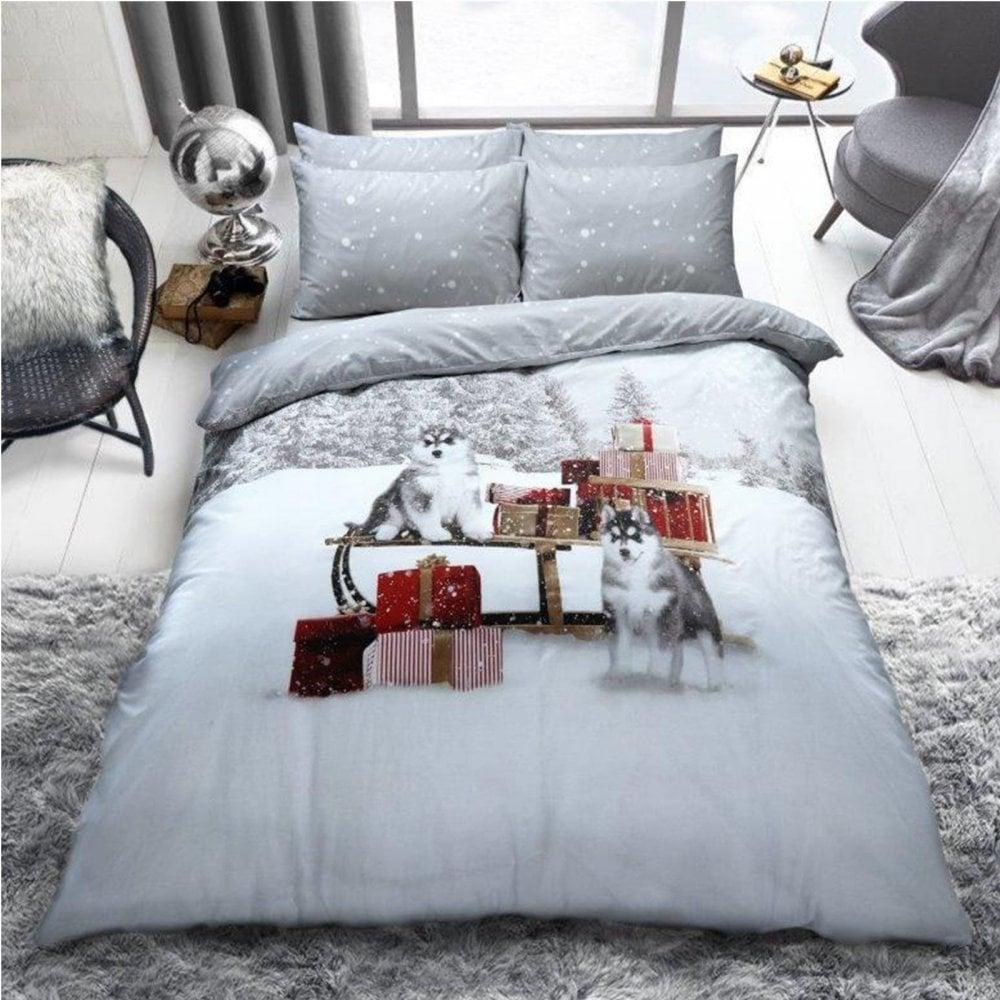 Christmas Festive Duvet Cover Winter Huskies Bedding Size Single 279592