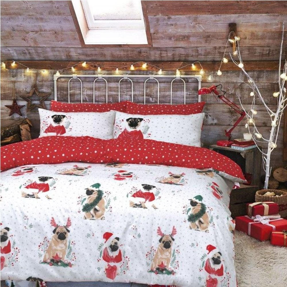 Single At Christmas.Christmas Kids Xmas Duvet Set Bed Festive Quilt Cover Festive Pug Single 266257