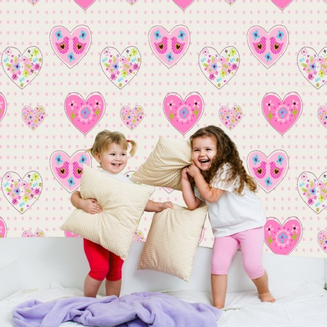 Debona Amour Heart Pattern Love Bird Motif Floral Childrens Wallpaper 6340