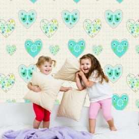 Debona Amour Heart Pattern Love Bird Motif Floral Childrens Wallpaper 6341