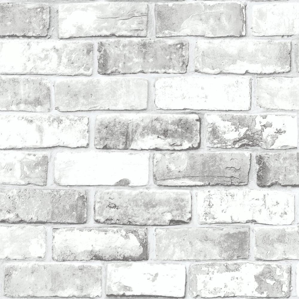 Debona Brick Pattern Wallpaper Modern Metallic Motif Faux