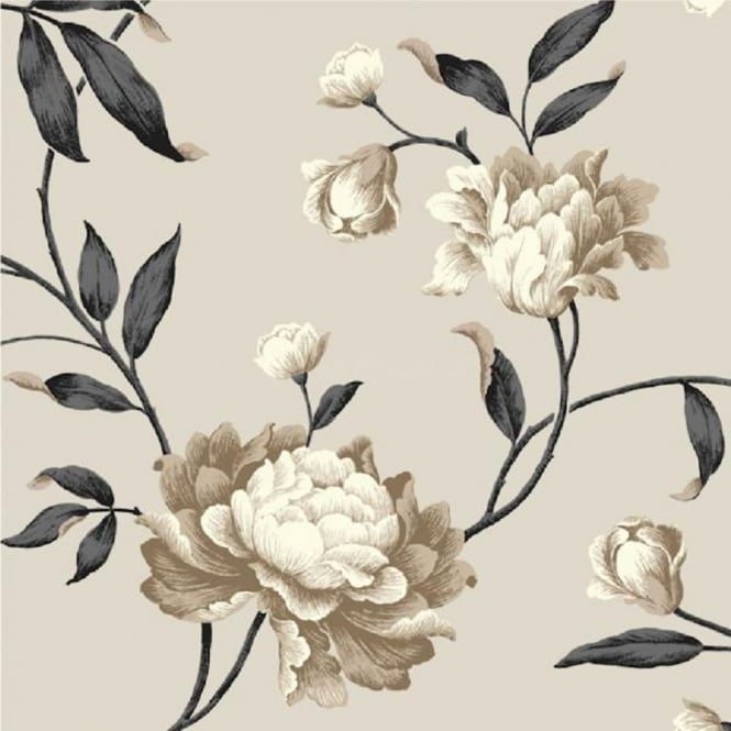 Debona Georgina Floral Trail Leaf Rose 10m Wallpaper Roll 14854