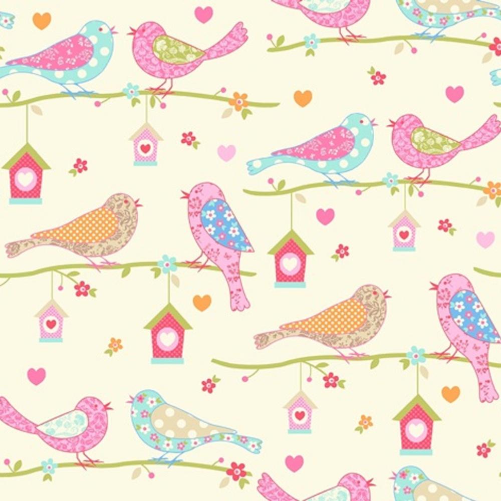 Debona dutch birds floral hearts cream pink textured for Kids room wallpaper texture