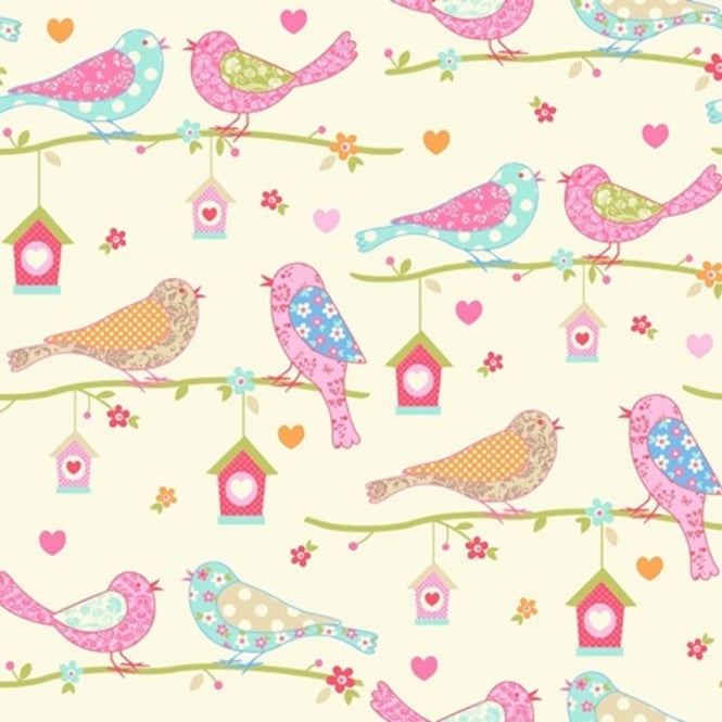 Debona Dutch Birds Floral Hearts Cream & Pink Textured Wallpaper 1272