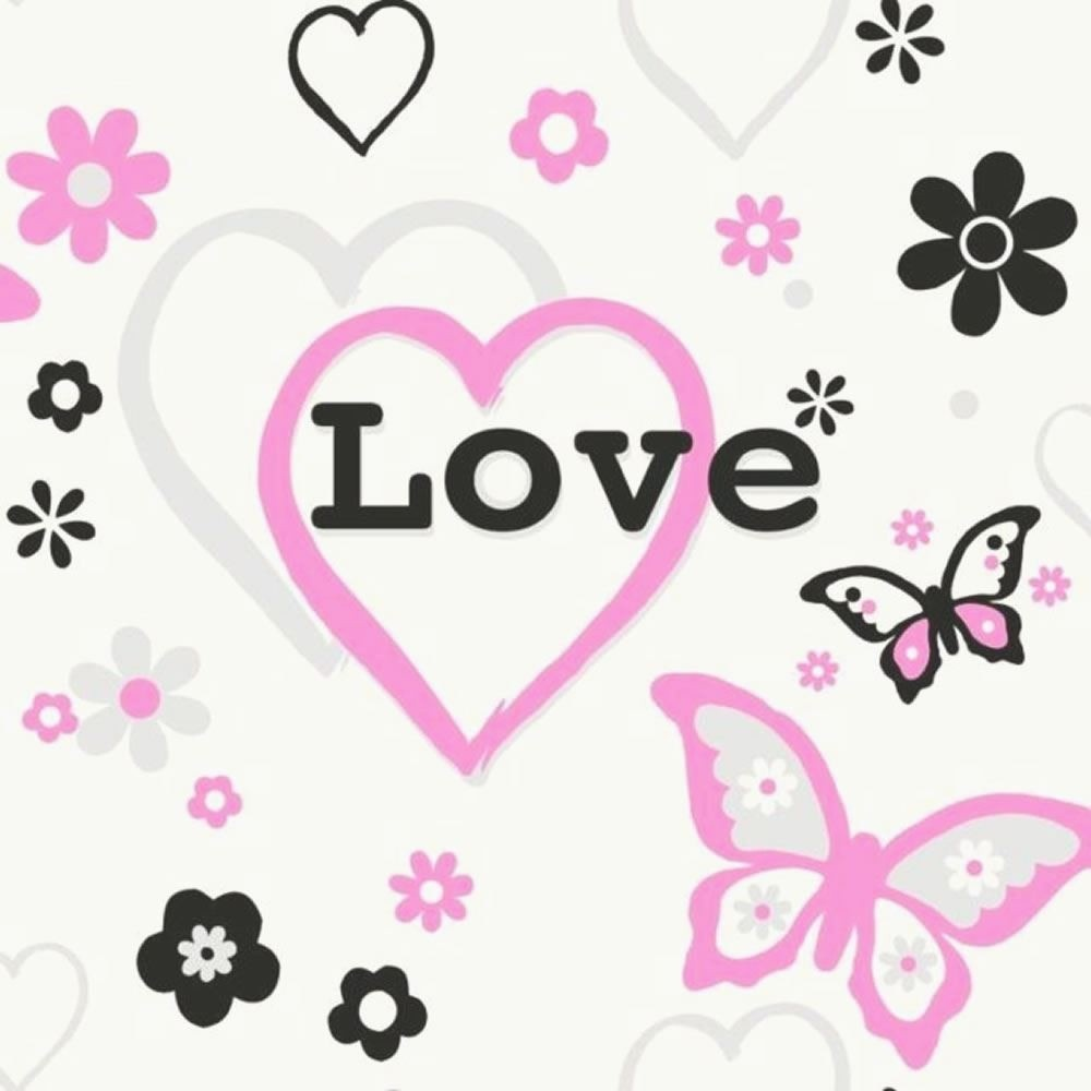 debona love hearts flowers butterfly children kids girls bedroom pink wallpaper 6206 p1726 2976_image