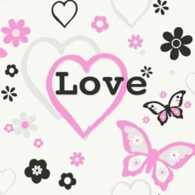 Debona Love Hearts Flowers Butterfly Children Kids Girls Bedroom Pink Wallpaper 6206
