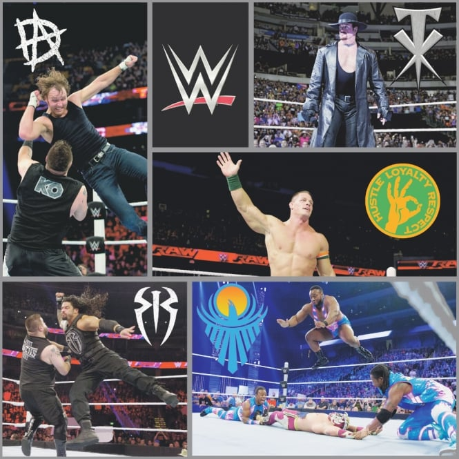 Debona Official WWE Wrestling Photo Pattern Wallpaper Undertaker John Cena Childrens