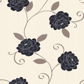 Puccini Floral Trail Metallic Leaf Highlights Flower Motif Wallpaper 5566