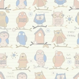 Debona Twit Twoo Owl Pattern Bird Motif Striped Childrens Wallpaper 6344