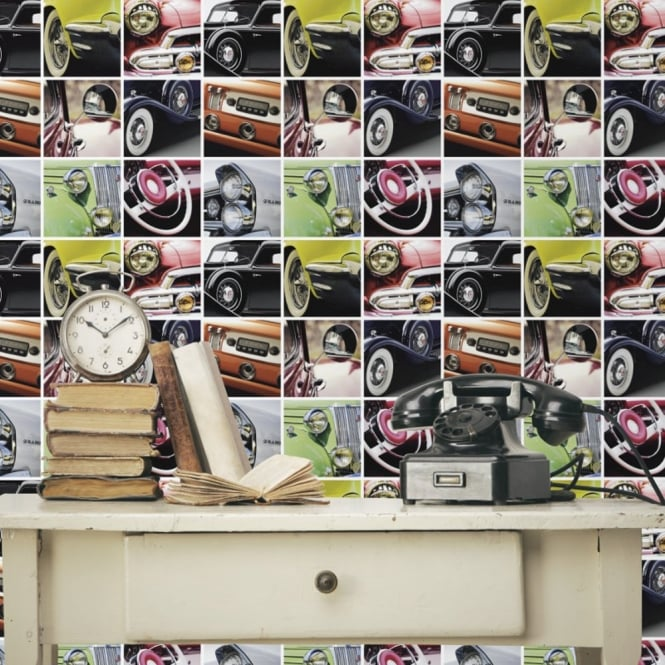 Debona Vintage Auto Classic Cars Photo Collage Pattern Wallpaper 6347