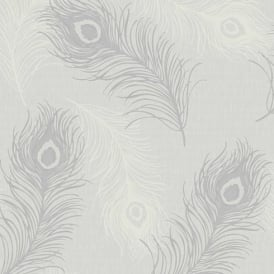 Debona Viola Feather Pattern Glitter Motif Bird Textured Vinyl Wallpaper 40915