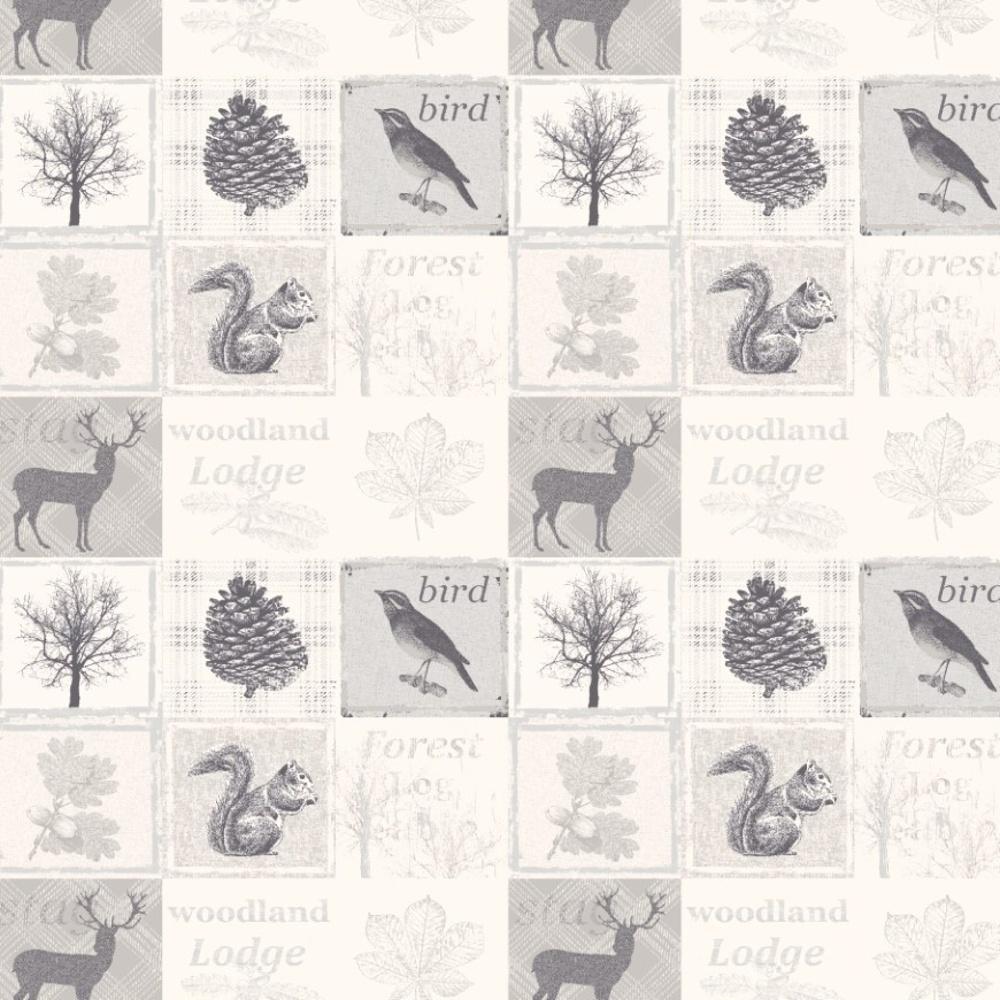 Debona Woodland Forest Pattern Animal Bird Leaf Motif Silver Grey Wallpaper 1277