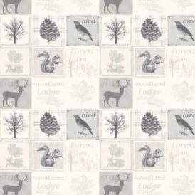 Debona Woodland Forest Pattern Animal Bird Leaf Motif Wallpaper 1277