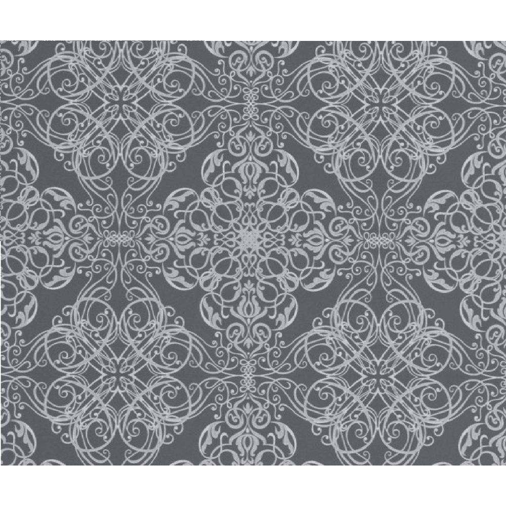 Decorative Textured Metallic Silver Damask Flower Pattern Wallpaper 02511 70
