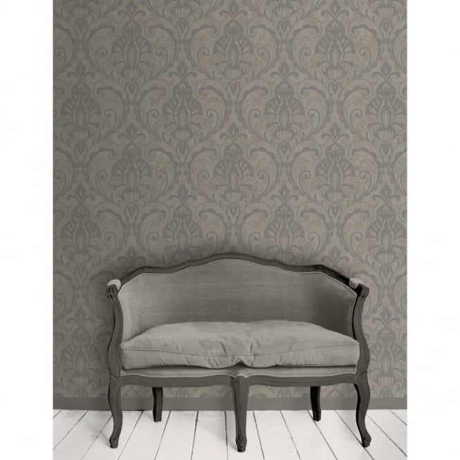 Direct Wallpapers Direct Damask Pattern Glitter Motif Textured Vinyl Suede Wallpaper 575008