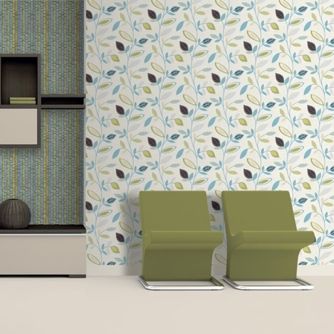 Direct Wallpapers Direct Pavilion Floral Leaf Pattern Flower Motif Metallic Silver Wallpaper J78701
