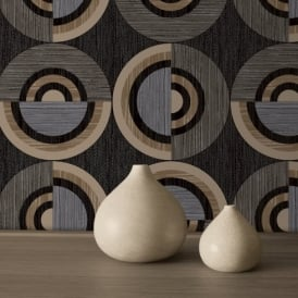 Direct Circle Eton Circles Motif Striped Textured Blown Vinyl Wallpaper J32307