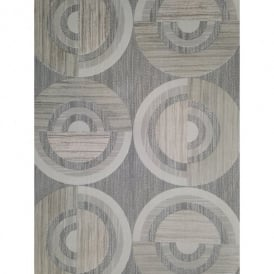 Direct Circle Eton Circles Motif Striped Textured Blown Vinyl Wallpaper J32309