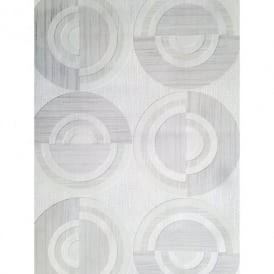 Direct Circle Eton Circles Motif Striped Textured Blown Vinyl Wallpaper J32319