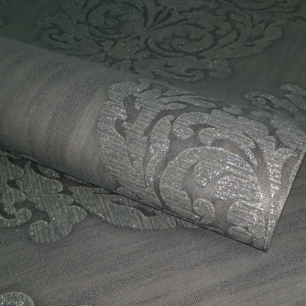 Direct Damask Motif Pattern Glitter Textured Blown Vinyl Wallpaper J23609