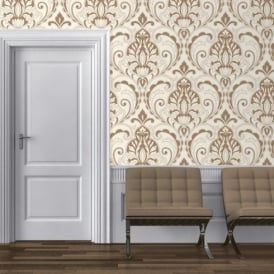 Direct Medallion Damask Pattern Glitter Motif Embossed Textured Wallpaper J75007
