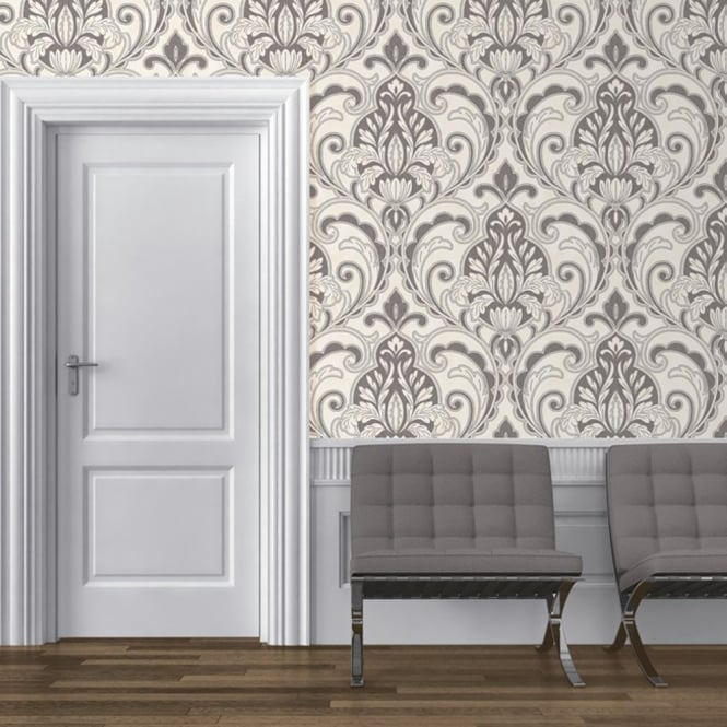 Direct Wallpapers Direct Medallion Damask Pattern Glitter Motif Embossed Textured Wallpaper J75009