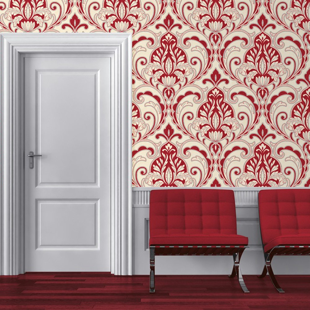 Red And White Patterned Wallpaper: Direct Medallion Damask Pattern Glitter Motif Embossed