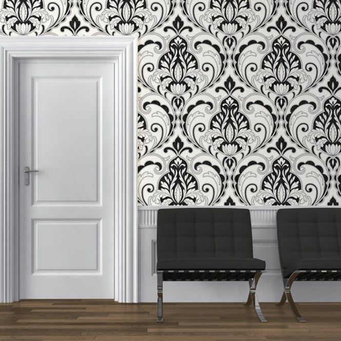 Direct Wallpapers Direct Medallion Damask Pattern Glitter Motif Embossed Textured Wallpaper J75019