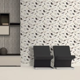 Direct Pavilion Floral Leaf Pattern Flower Motif Metallic Silver Wallpaper J78707