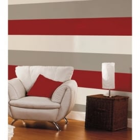 Direct Stripe 3 Colour Striped Motif Textured Designer Vinyl Wallpaper E40910