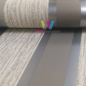 Direct Striped Pattern Metallic Stripe Embossed Textured Vinyl Wallpaper E87507
