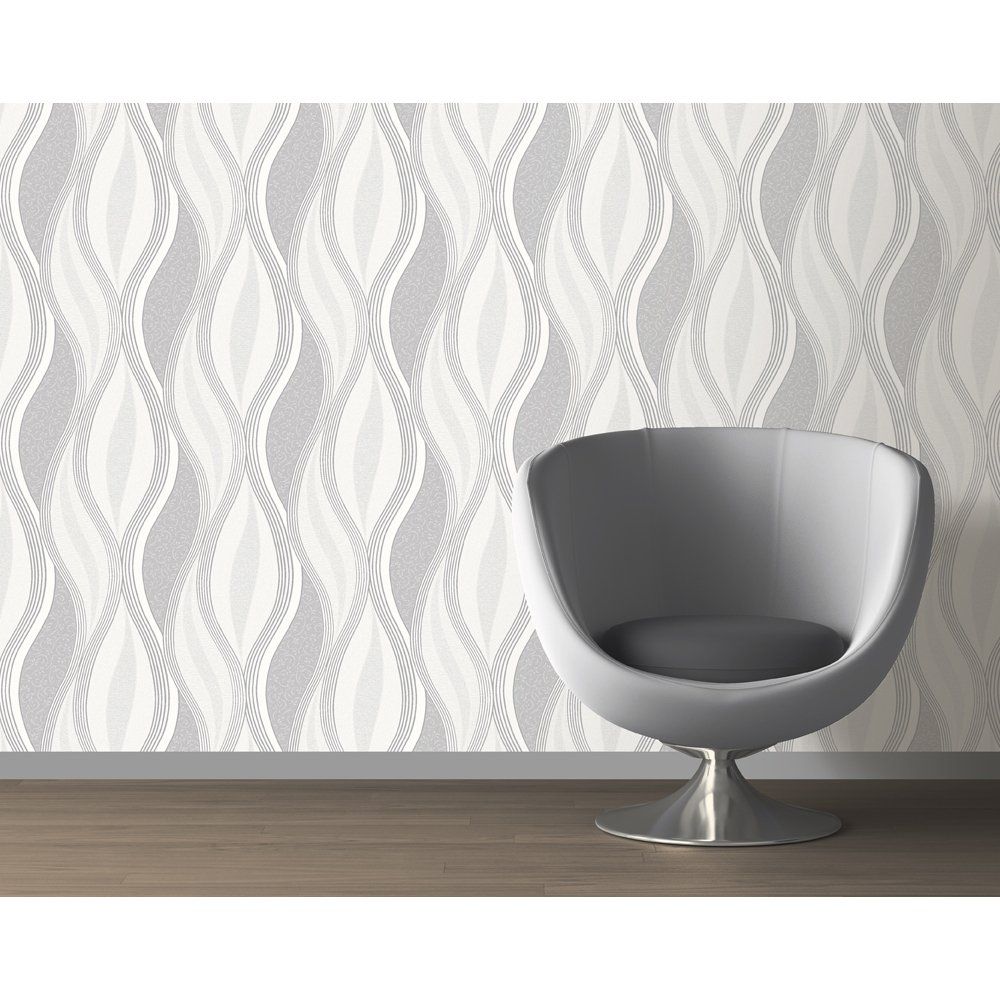Direct wave stripe pattern floral metallic glitter for Wallpaper direct