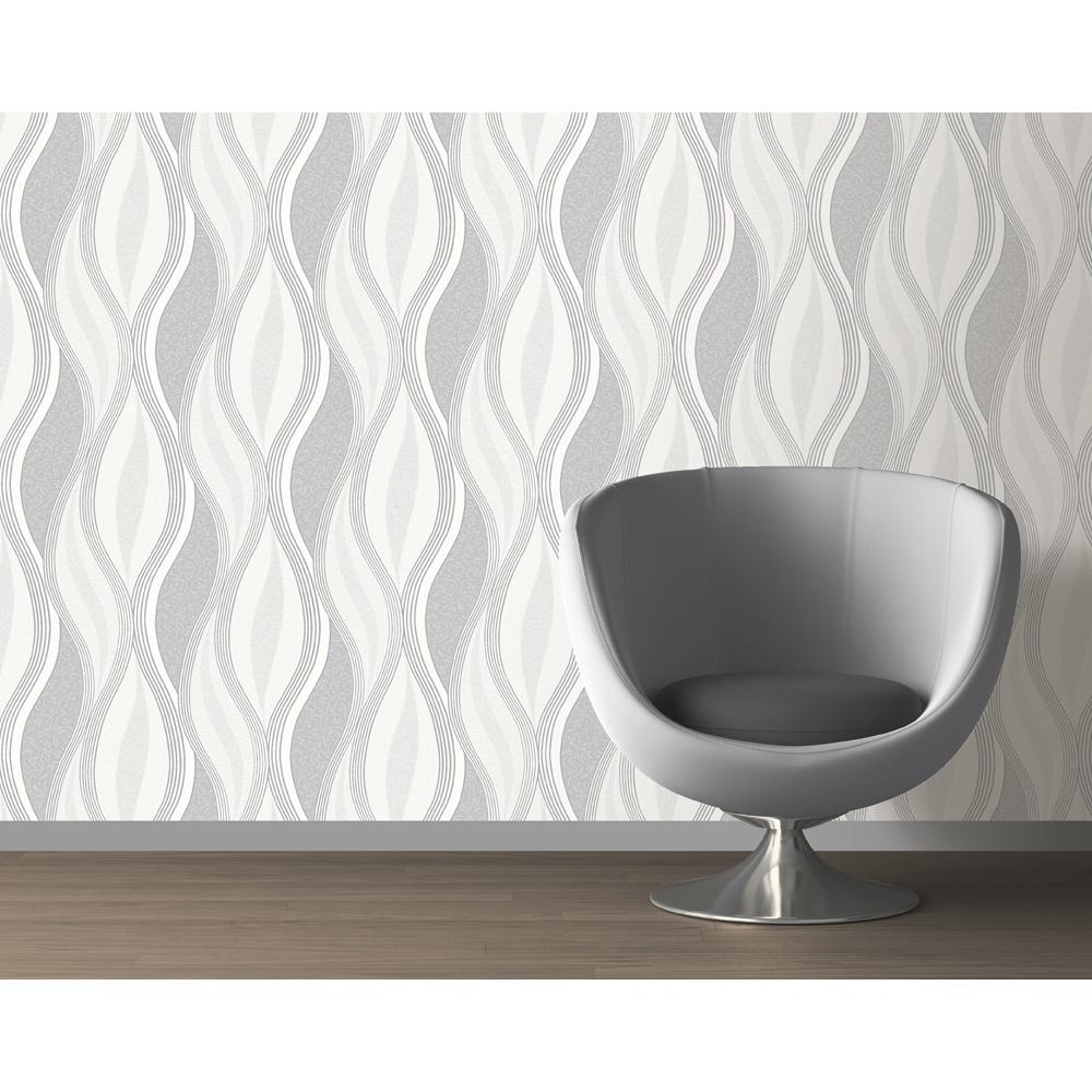 Direct Wave Stripe Pattern Floral Motif Metallic Glitter Wallpaper E62019