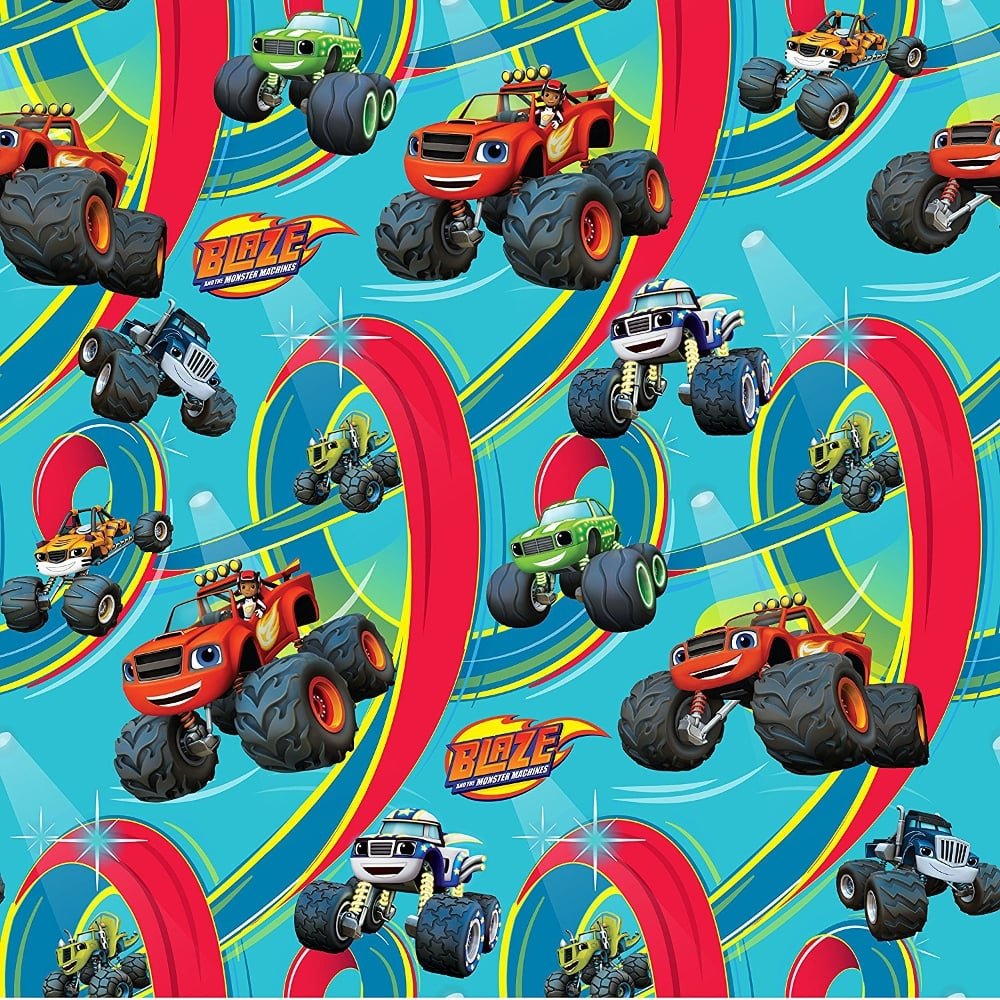 Blaze and the monster machines official childrens bedroom wallpaper wp4 bla ze1 12 blue red