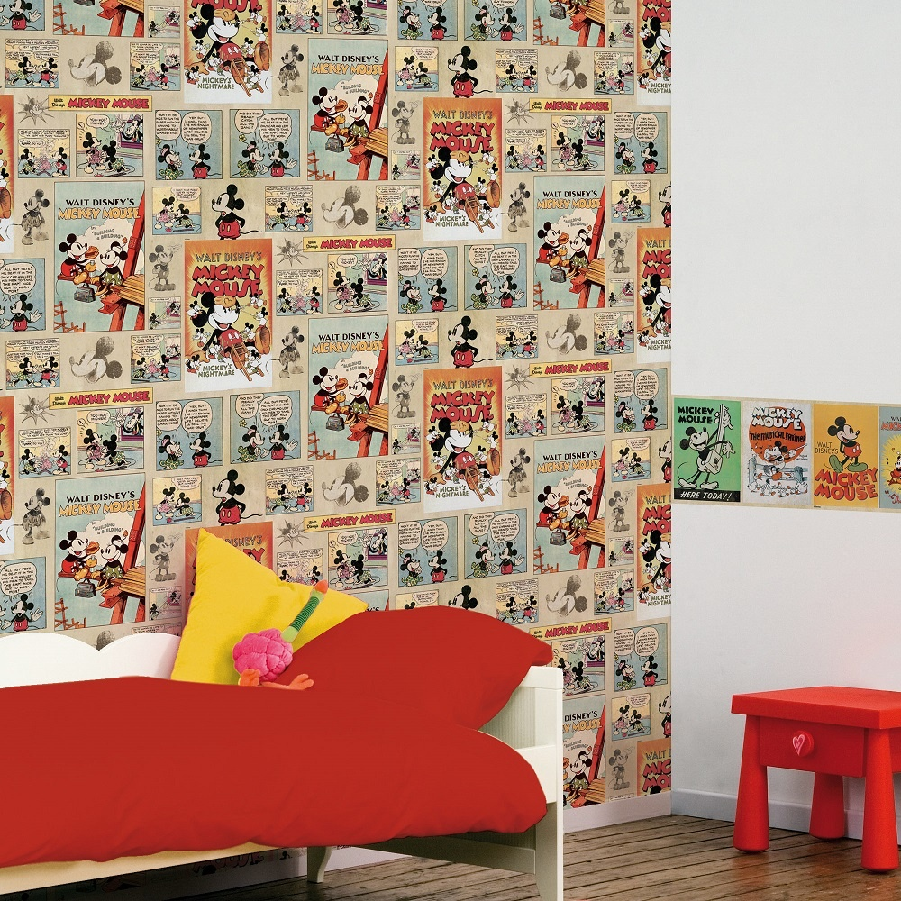disney mickey mouse vintage episode comic strip wallpaper. Black Bedroom Furniture Sets. Home Design Ideas