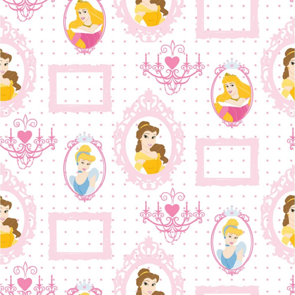 Disney princess royal frames motif pink childrens kids for Papel de empapelar