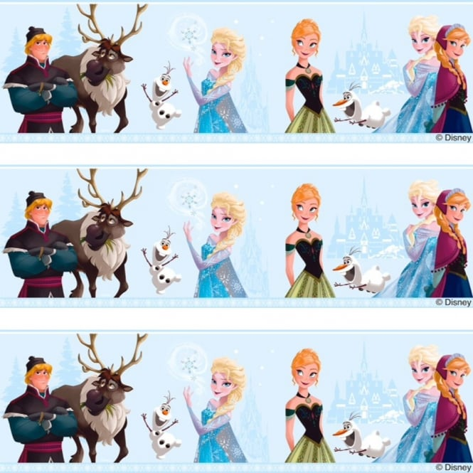Disney Frozen Official Elsa Anna Olaf Pattern Childrens Movie Wallpaper Border FR3503-1