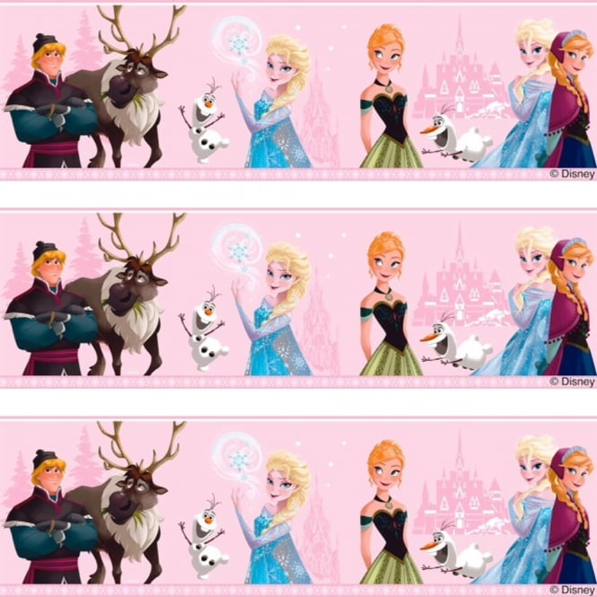 Disney Frozen Official Elsa Anna Olaf Pattern Childrens Movie Wallpaper Border FR3503-2