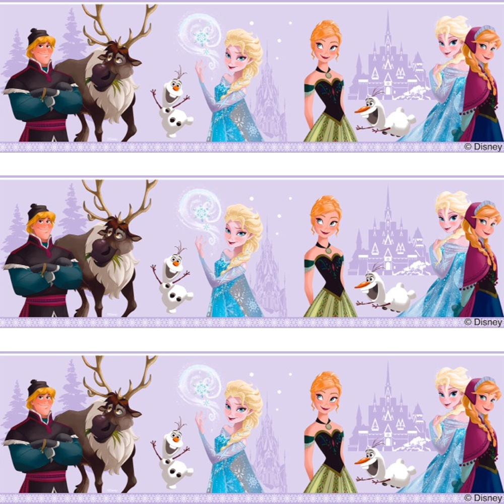 Disney Frozen Official Elsa Anna Olaf Pattern Childrens Movie Wallpaper Border FR3503 3